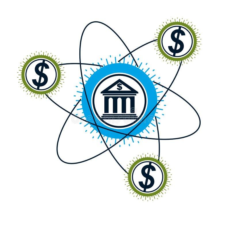 Logo conceptuel de banques et de finances, symbole unique de vecteur Système bancaire illustration libre de droits