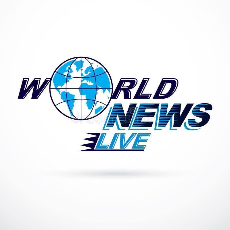 Logo conceptuel de nouvelles du monde, illustration de globe de vecteur illustration libre de droits