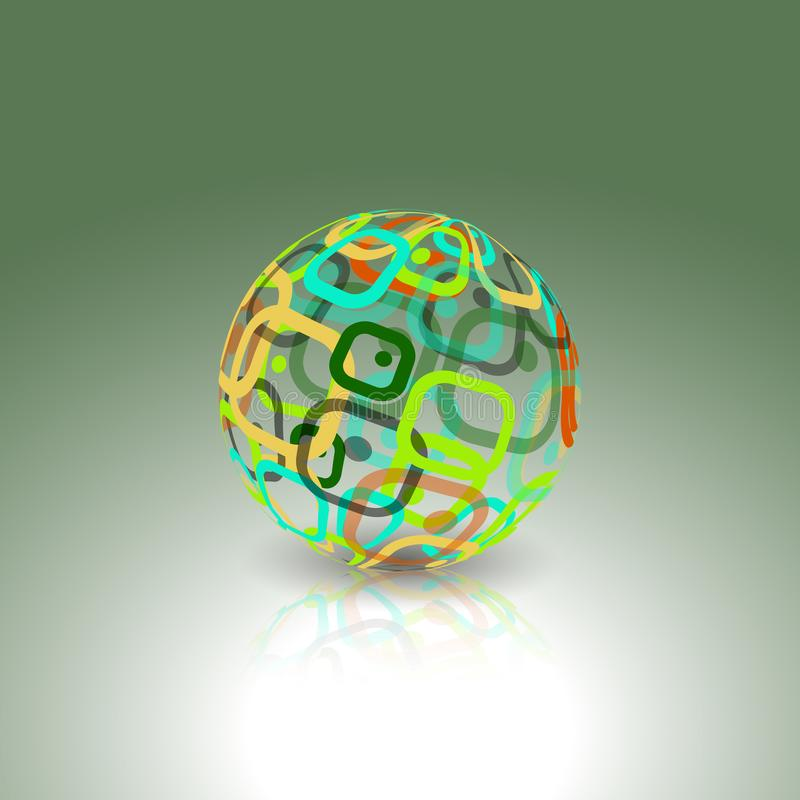 Logo conceptuel de technologie Globe abstrait fait à partir de rétros rectangles illustration de vecteur