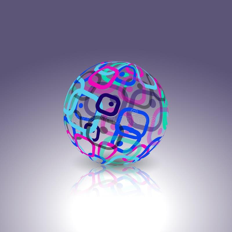 Logo conceptuel de technologie Globe abstrait fait à partir de rétros rectangles illustration libre de droits