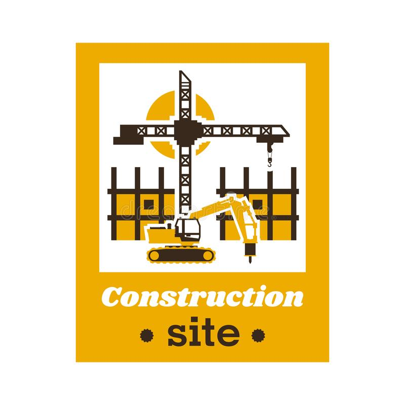 Logo of the construction site. Big crane, an unfinished building working excavator. Vector illustration. Flat style vector illustration