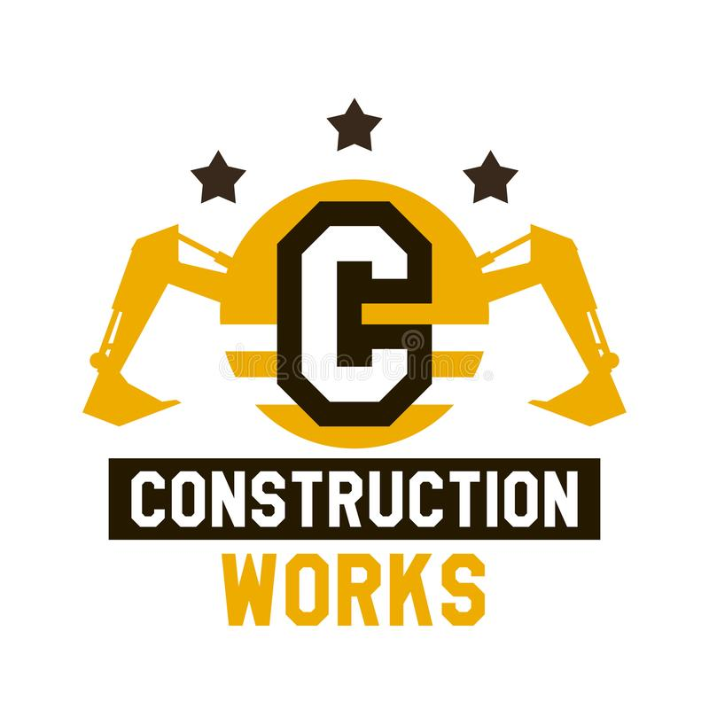 Logo of construction work. The letter in the middle of the circle. Excavator, hydraulic equipment. Vector illustration. Flat style vector illustration