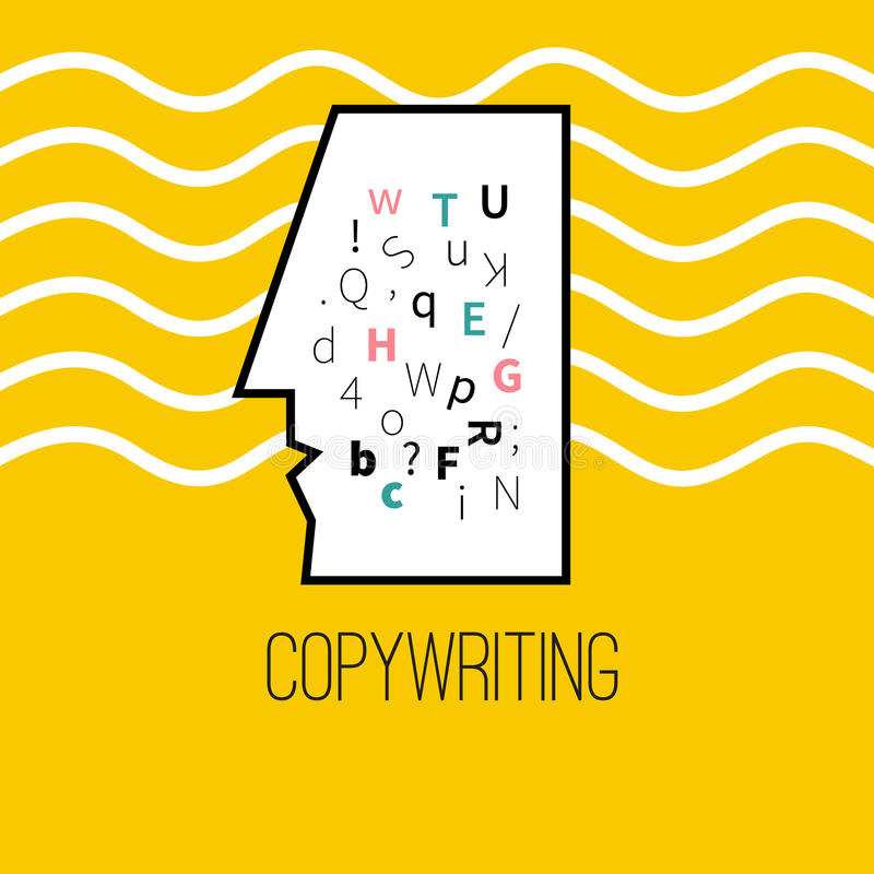 Logo of copywriting. Icon of copywriting. Vector logo of writer, Creator. Characters in head stock illustration