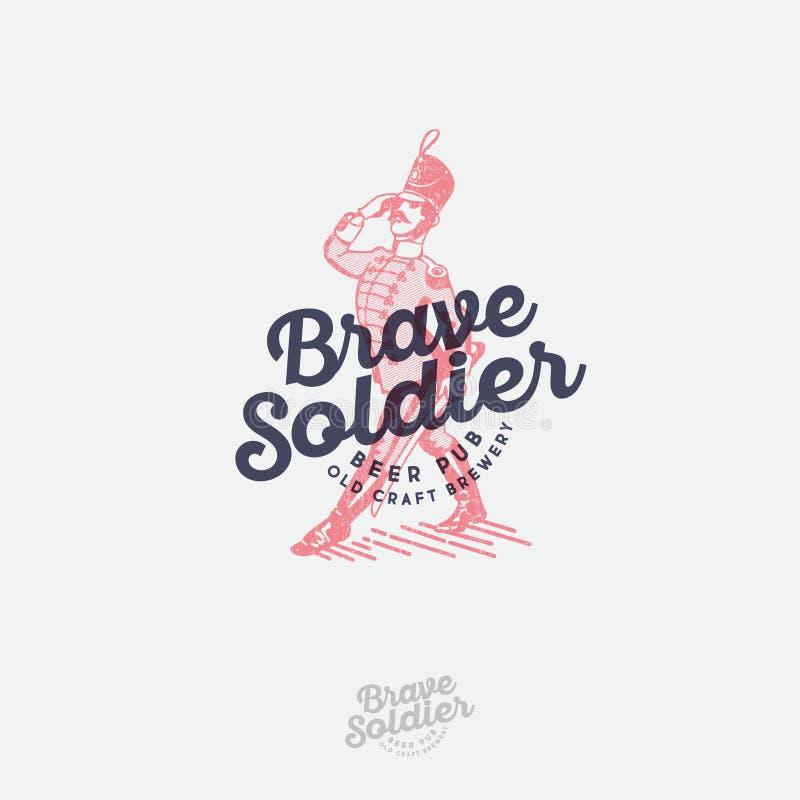 Logo coraggioso del soldato Contrassegno della birra Emblema del pub Illustrazione incisa del soldato coraggioso e dell'iscrizion royalty illustrazione gratis