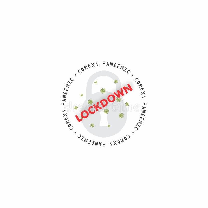 Logo Corona Lockdown okrągłe lub plakietka Projekt wektora Ilustracja Komunikat informujący o wirusach Corona przy blokadzie royalty ilustracja