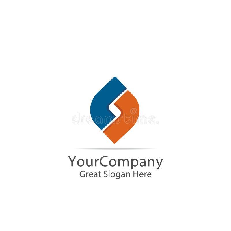 Logo corporativo di affari simbolo del cerchio del quadrato della lettera S del lettertype progettazione astratta del segno di al illustrazione vettoriale