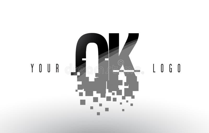 Logo CORRECT de O.K. Pixel Letter avec les places noires brisées par Digital illustration de vecteur