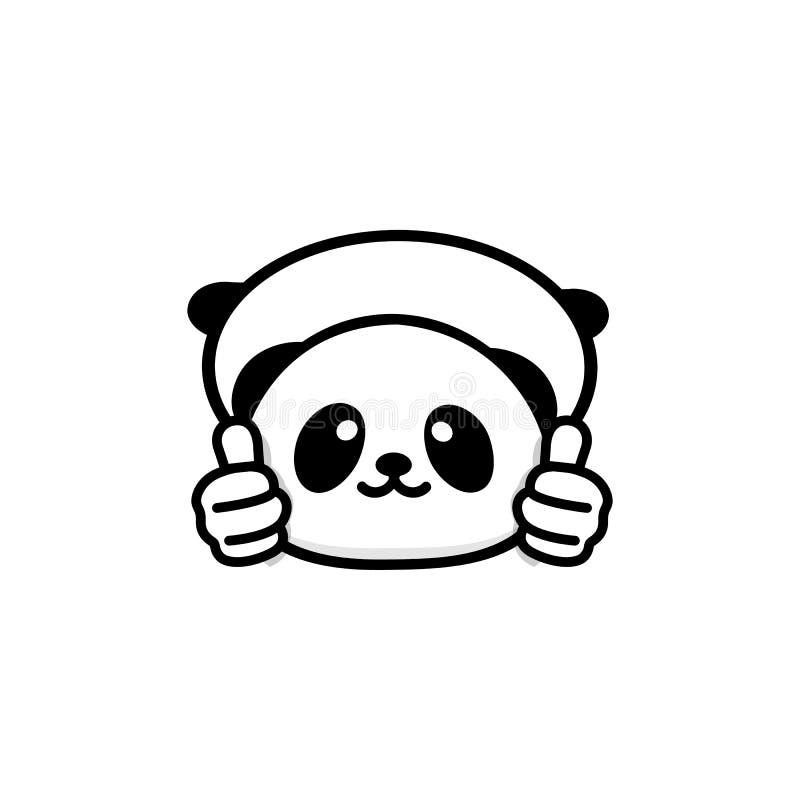Logo CORRECT Petit panda mignon drôle montrant le geste avec la main, le symbole abstrait de l'approbation et l'adoption Pouces d illustration libre de droits
