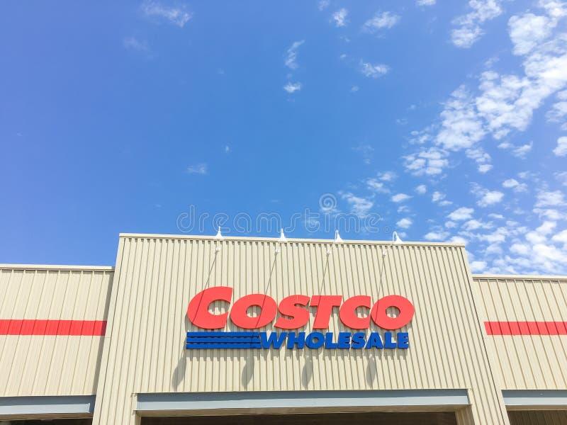 Logo of Costco Wholesale store at facade entrance royalty free stock photo