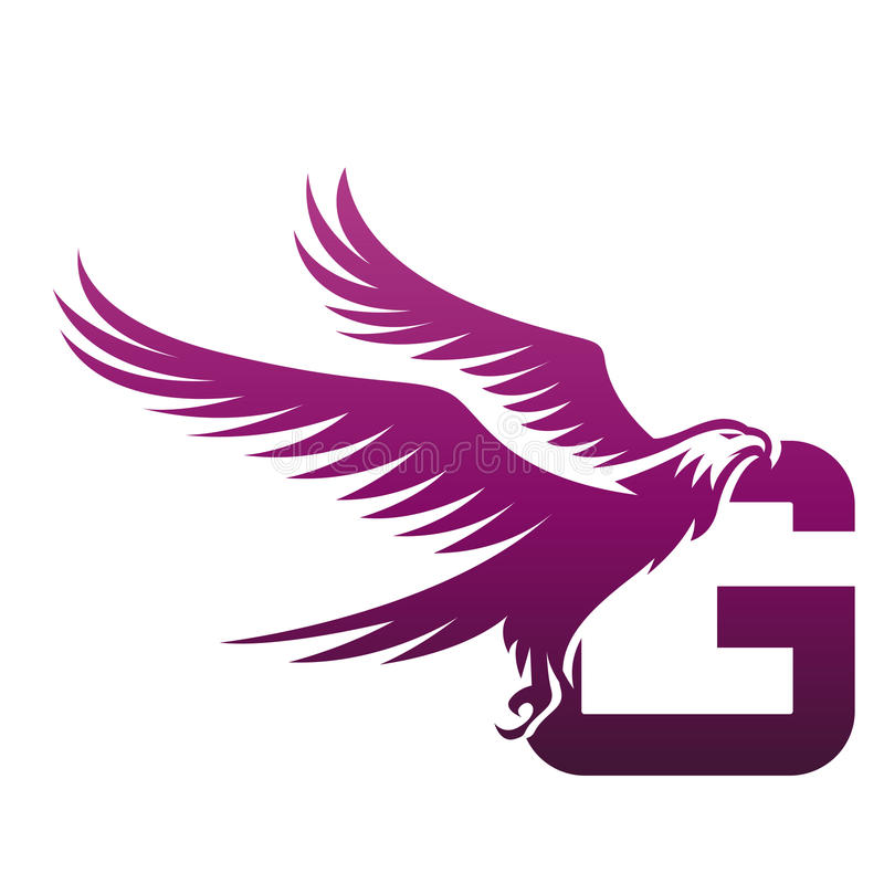 Logo courageux de Hawk Initial G de pourpre de vecteur illustration stock
