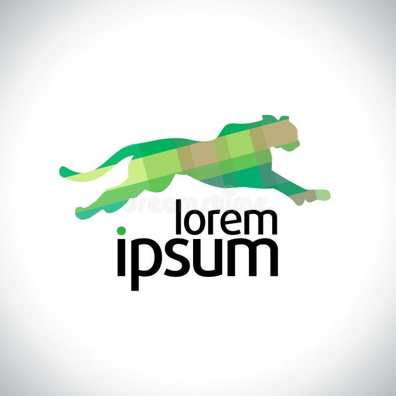 Logo courant vert de panthère illustration stock