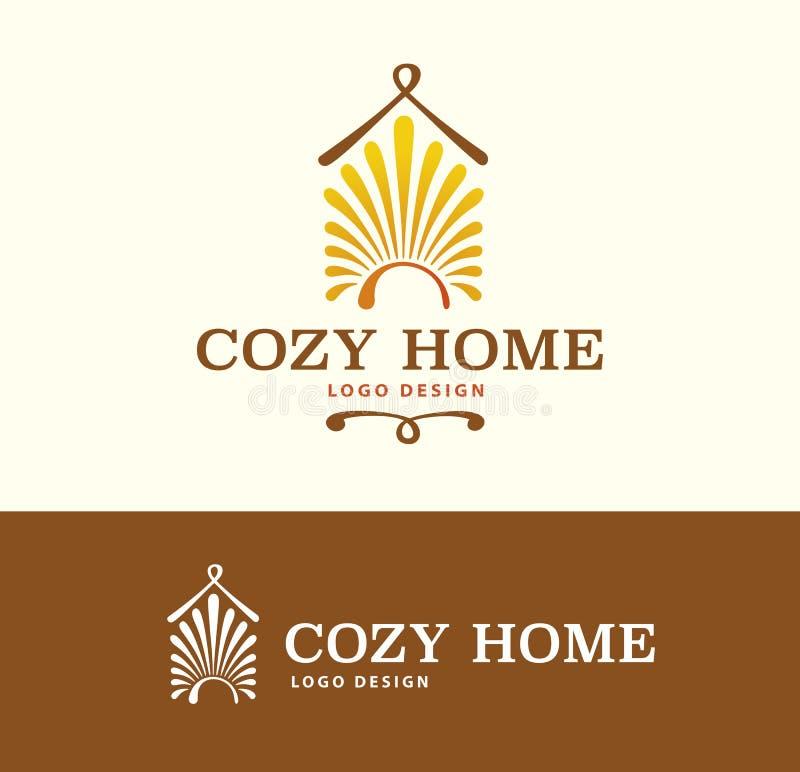 Logo Cozy Home auf heller und dunkler Farbe lizenzfreie abbildung