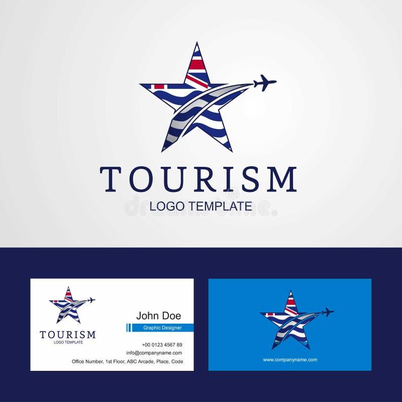 Logo créatif d'étoile de drapeau de territoire d'Océan Indien britannique de voyage illustration stock