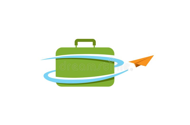 Logo créatif de conception d'air d'avion de voyage de papier de cas illustration stock