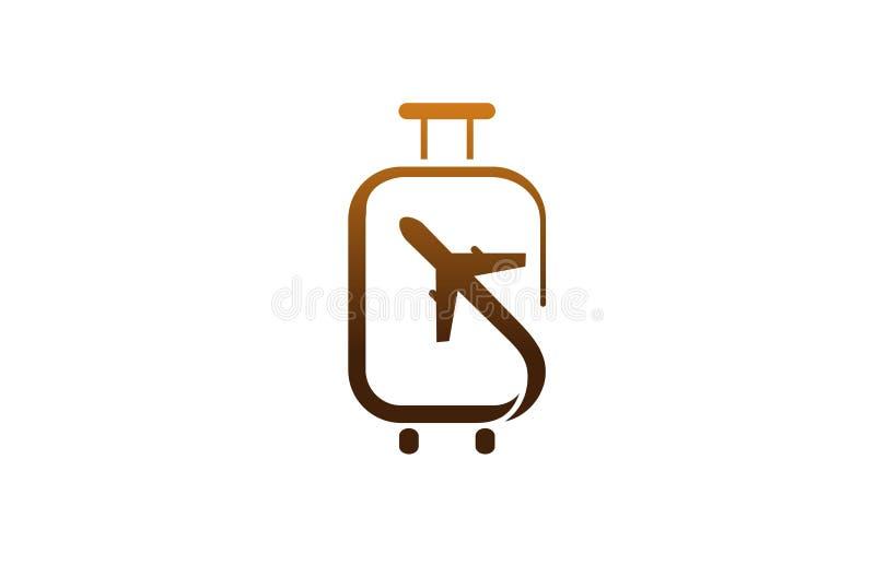 Logo créatif de conception d'air d'avion de voyage de valise illustration libre de droits