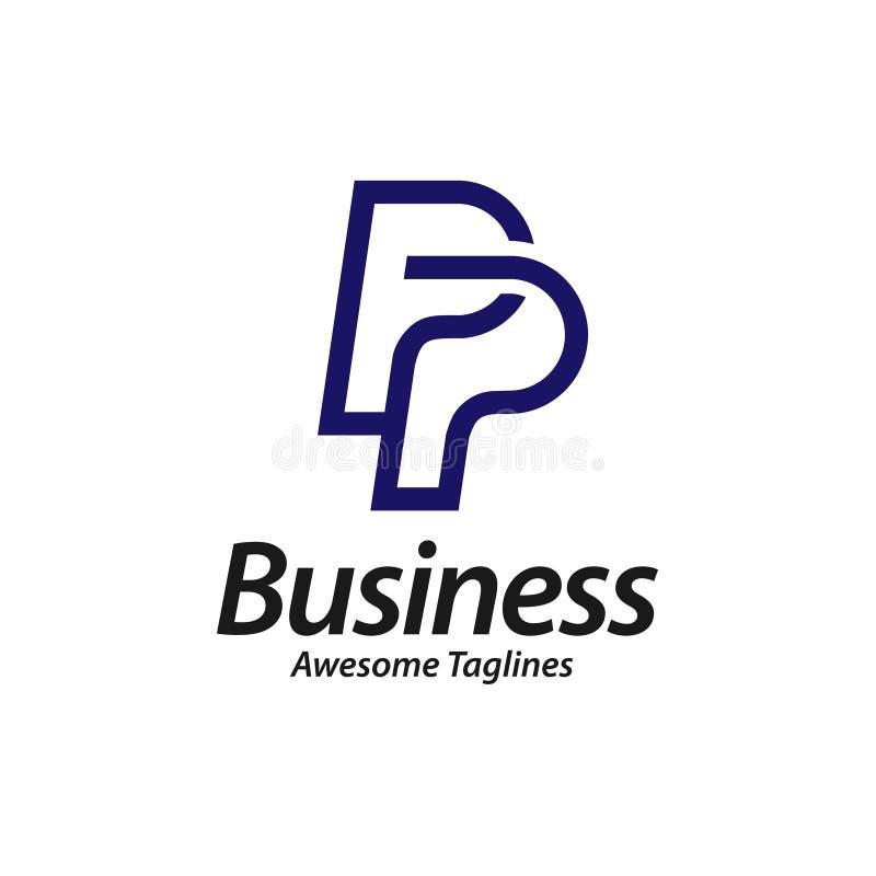 Logo créatif de la lettre initiale pp illustration libre de droits