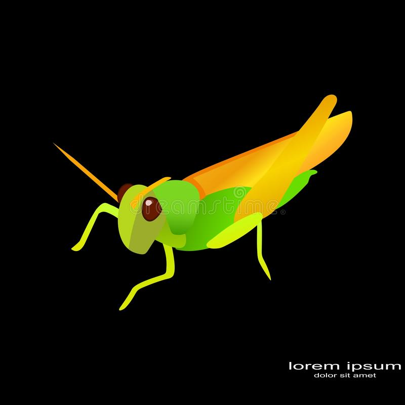 Logo créatif de sauterelle de conception d'échantillon illustration stock