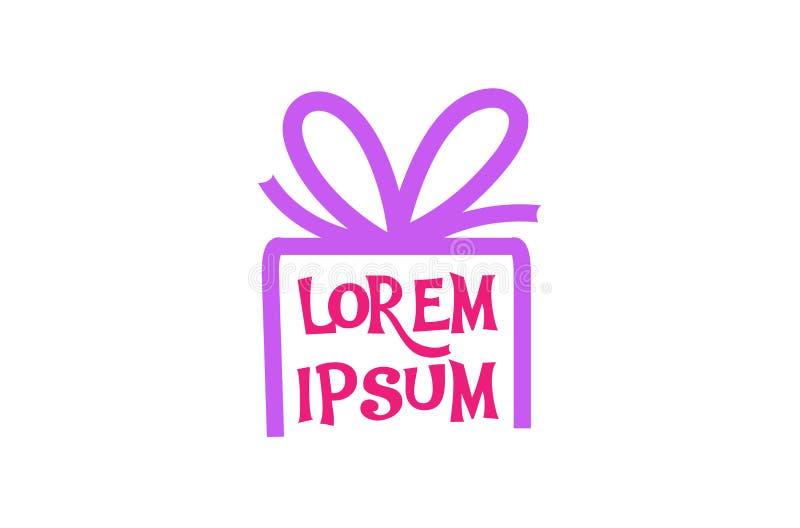 Logo créatif de symbole de Pinky Gift Box Love Abstract illustration libre de droits