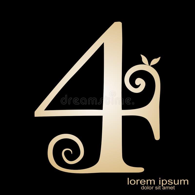 Logo créatif du numéro 4 de conception d'échantillon illustration libre de droits
