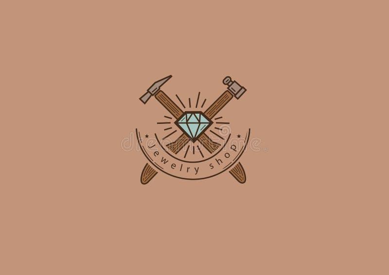 Logo créatif, le lion et le bijou illustration de vecteur