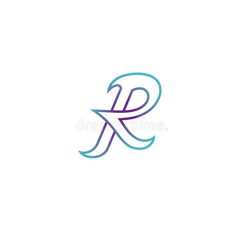 Logo créatif, typographie, grande lettre R illustration stock
