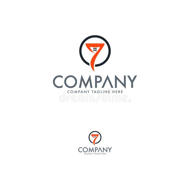 Logo cr?atif de Real Estate Logo des immobiliers sept illustration stock