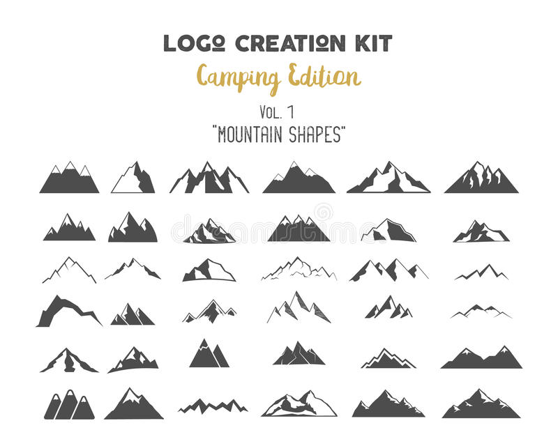 Logo creation kit bundle. Camping Edition set. Mountain vector shapes and elements Create your own outdoor label. Logo creation kit bundle. Camping Edition set