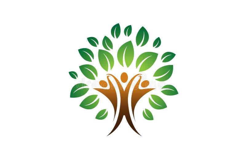 Logo creativo dell'albero di tre genti illustrazione di stock