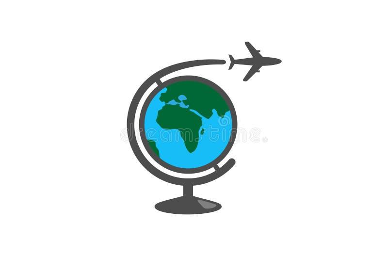 Logo creativo dell'aria dell'aeroplano globale di geografia illustrazione vettoriale
