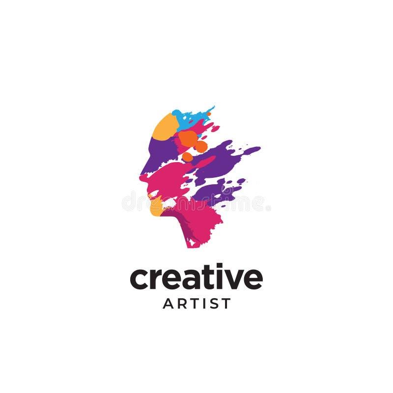 Logo creativo dello splat dell'inchiostro con la testa umana illustrazione di stock