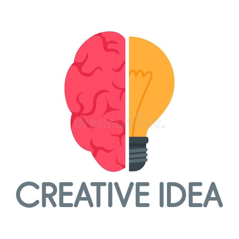 Logo creativo di mente di idea, stile piano illustrazione vettoriale
