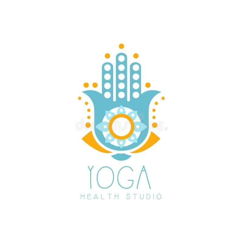 Logo creativo variopinto di hamsa di yoga royalty illustrazione gratis
