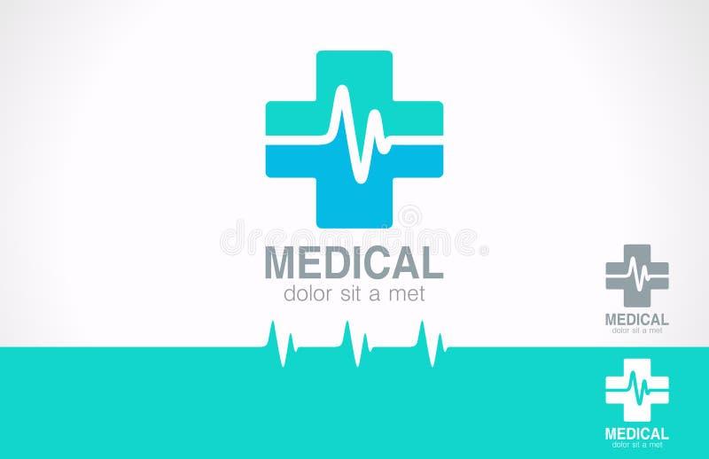 Logo croisé de médecine. Logotype de pharmacie. Cardiogramme illustration de vecteur