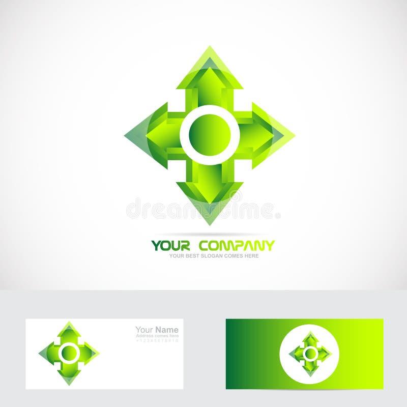 Logo croisé vert de tête de flèche illustration de vecteur