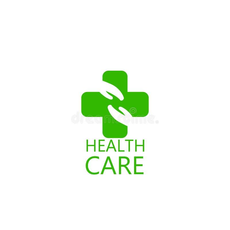 Logo Cross en Handengezondheid Embleem voor de kliniek, farmaceutisch bedrijf medisch kabinet Vector die op witte achtergrond wor royalty-vrije illustratie
