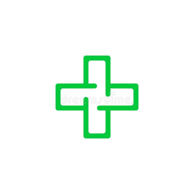 Logo Cross Health Embleem voor de kliniek, farmaceutisch bedrijf Gezondheid en medisch kabinet Vector die op witte achtergrond wo stock illustratie