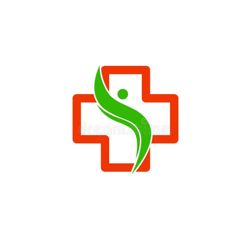 Logo Cross Health Embleem voor de kliniek, het farmaceutische bedrijf en het medische kabinet Vector die op witte achtergrond wor royalty-vrije illustratie