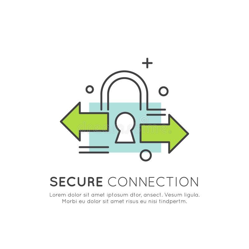 Logo Cuber ochrona, Zabezpiecza dostęp, zapłatę, nazwę użytkownika, Utajnioną komunikację, sieci ochronę i prywatność, royalty ilustracja