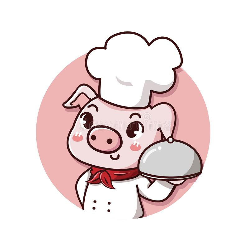 Logo pig chef pig smile. Logo cute and friendly pig chef holds a delicious steak pork dish vector illustration
