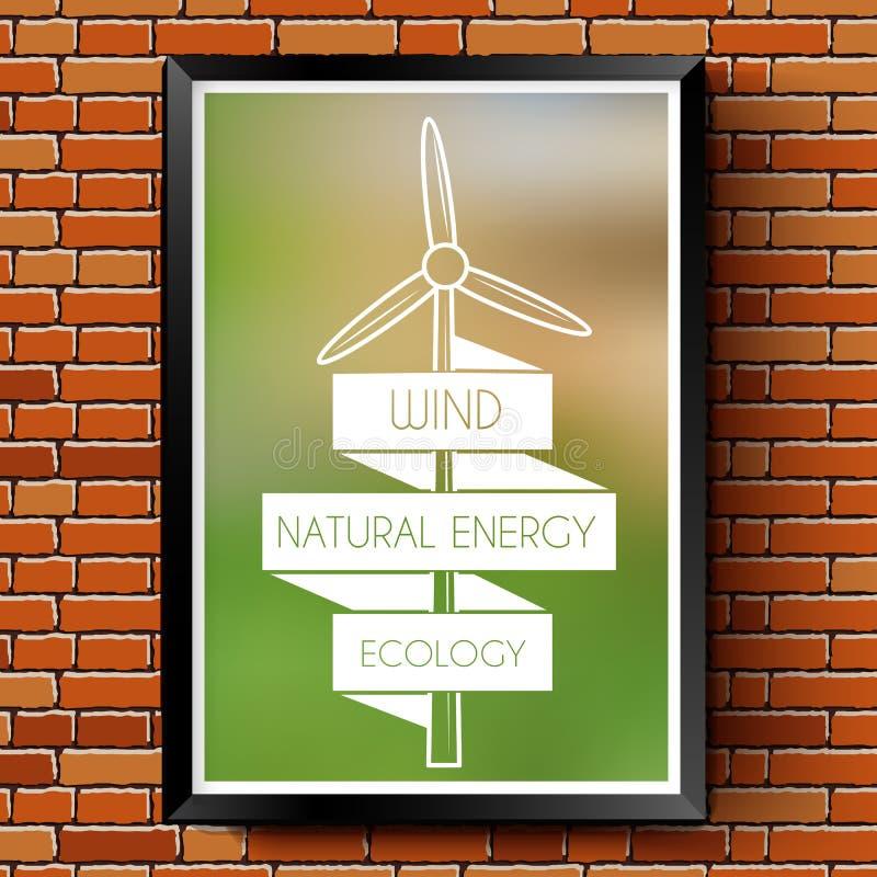 Logo d'écologie ou calibre de label avec brouillé illustration stock