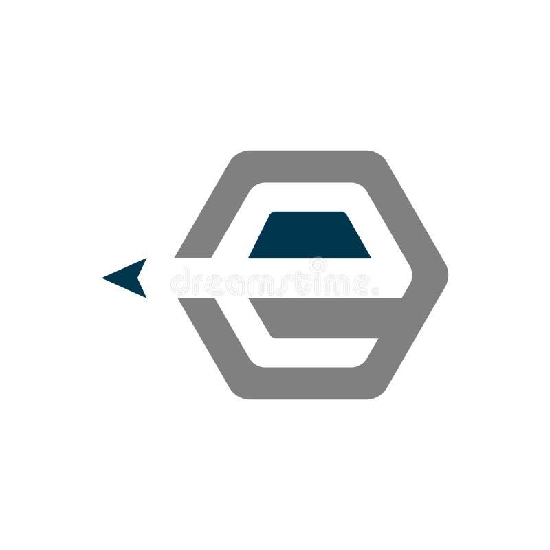 Logo d'éducation de la lettre E avec le vecteur négatif de crayon de style de l'espace illustration stock