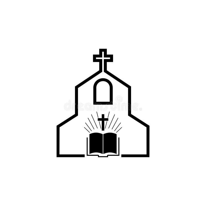 Logo d'église, croix et symbole abstrait de religion de bible illustration de vecteur