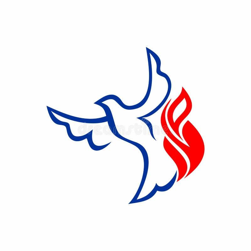 Logo d'église Le pigeon et la flamme sont des symboles de l'esprit du ` s de Dieu illustration stock