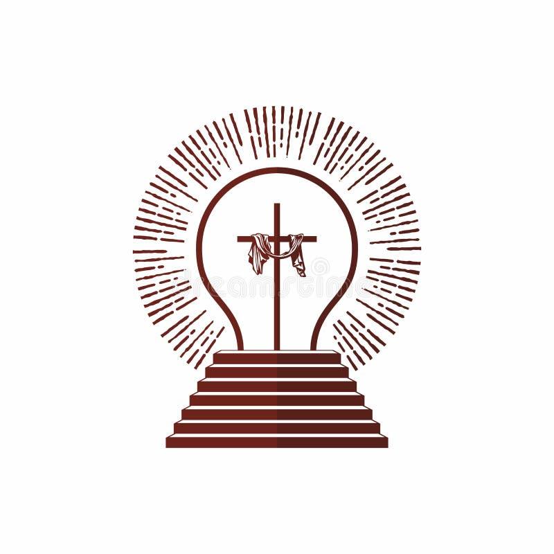 Logo d'église Symboles chrétiens Étant lumière et approché les étapes de Dieu, éclat de Jesus Christ illustration stock