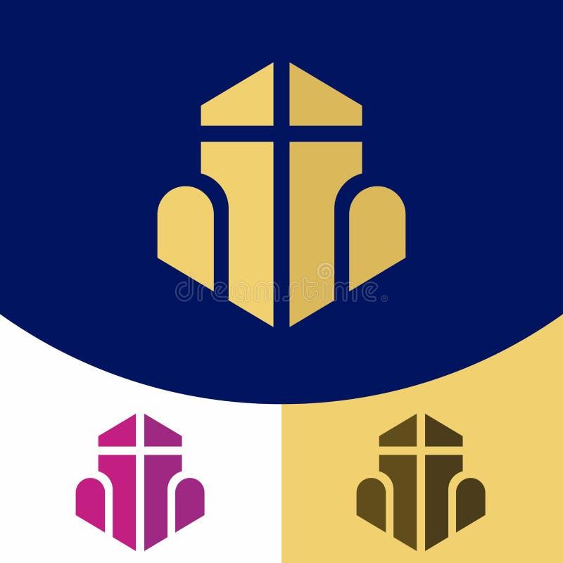 Logo d'église Symboles chrétiens La croix de Jesus Christ, et formes géométriques illustration libre de droits