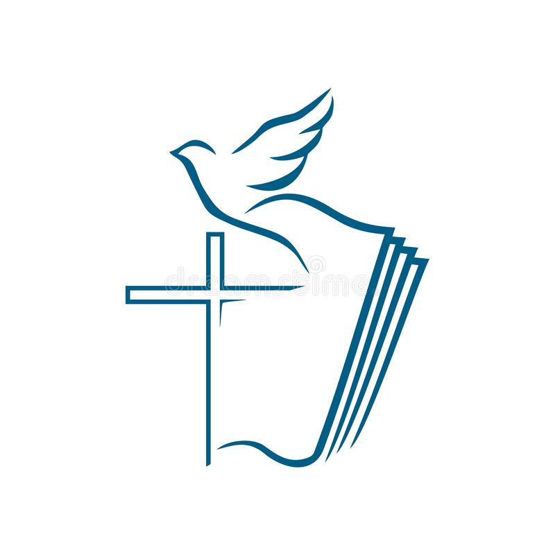 Logo d'église Symboles chrétiens La croix de Jesus Christ sur le fond de la bible ouverte et du d volant illustration stock