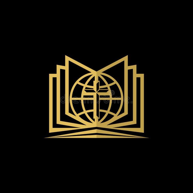 Logo d'église Symboles chrétiens Sainte Bible, globe et croix de Jésus illustration stock
