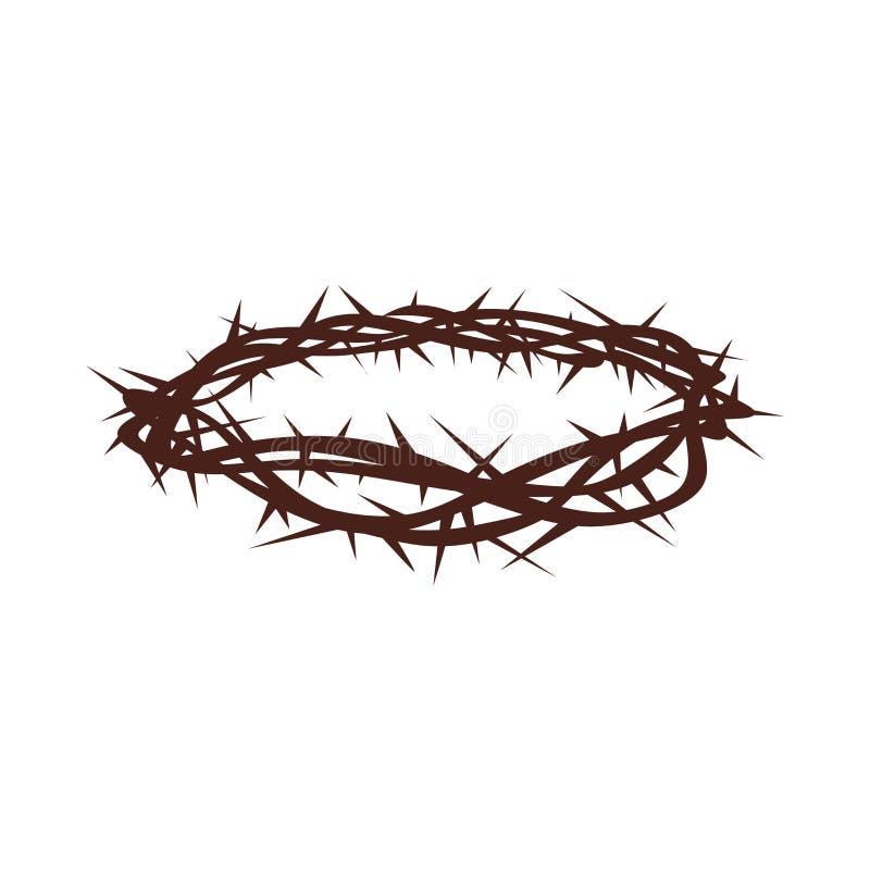 Logo d'église Symboles chrétiens Tête des épines illustration stock