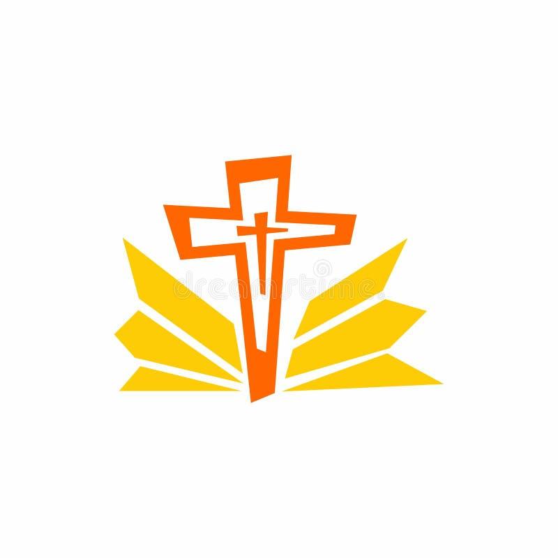 Logo d'église Symboles de Cristian La croix de Jésus et des raies illustration de vecteur