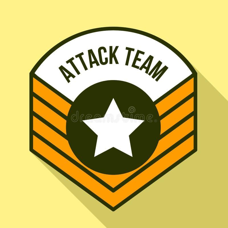Logo d'équipe d'attaque, style plat illustration stock